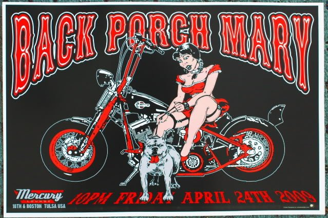 """Back Porch Mary promotional Thom Self 19"""" x 13"""" Concert Poster"""