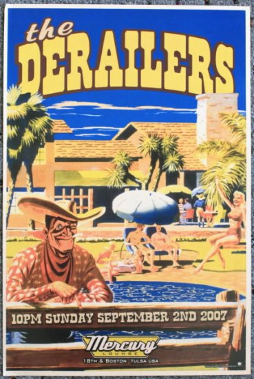 """The Derailers promotional Thom Self 13"""" x 19"""" Concert Poster"""