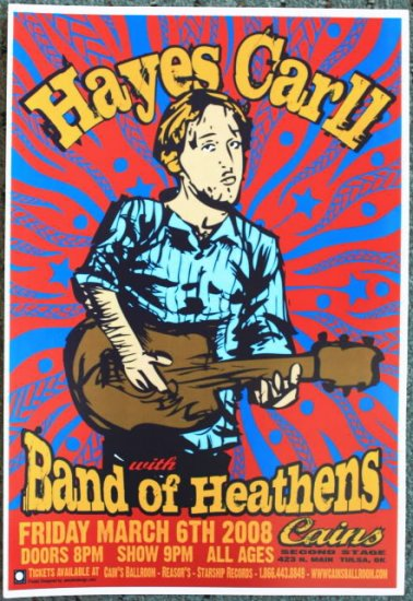 "Hayes Carll with Band of Heathens promotional Thom Self 13"" x 19"" Concert Poster"