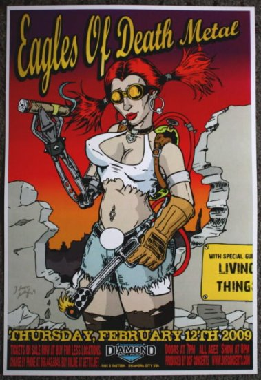"""Eagles of Death Metal promotional Thom Self 13"""" x 19"""" Concert Poster"""
