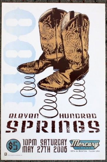 "Eleven Hundred Springs promotional Thom Self 13"" x 19"" Concert Poster"