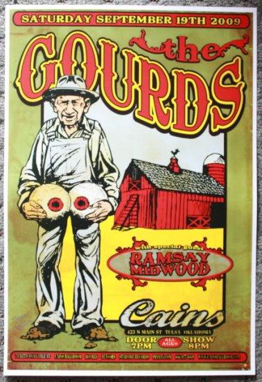 """The Gourds with Ramsay Midwood promotional Thom Self 13"""" x 19"""" Concert Poster"""