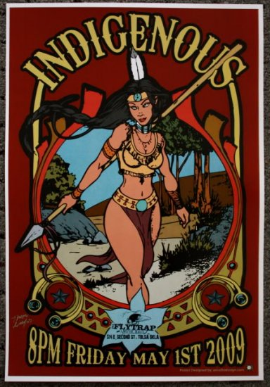"""Indigenous promotional Thom Self 13"""" x 19"""" Concert Poster"""
