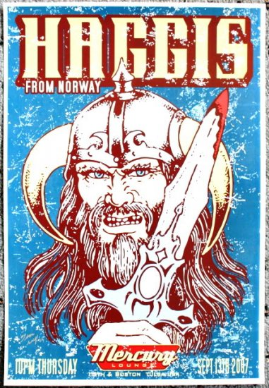 """Haggis for Norway promotional Thom Self 13"""" x 19"""" Concert Poster"""