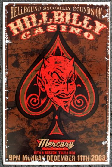 """Hillbilly Casino promotional Thom Self 13"""" x 19"""" Concert Poster"""