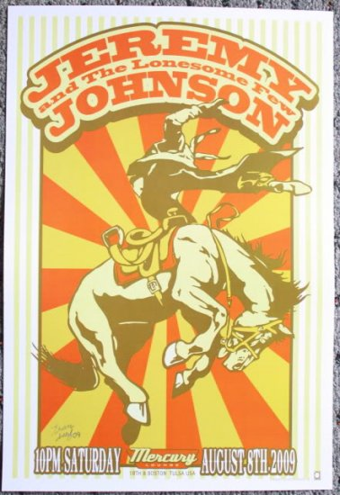 """Jeremy Johnson & the Lonesome Few promotional Thom Self 13"""" x 19"""" Concert Poster"""
