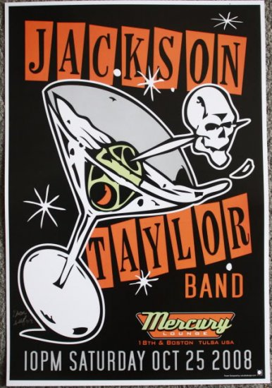 """Jackson Taylor Band promotional Thom Self 13"""" x 19"""" Concert Poster"""