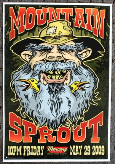 """Mountain Sprout promotional Thom Self 13"""" x 19"""" Concert Poster"""