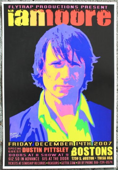 """Ian Moore with Dustin Pittsley promotional Thom Self 13"""" x 19"""" Concert Poster"""
