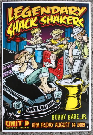"""Legendary Shack Shakers with Bobby Bare Jr. Thom Self 13"""" x 19"""" Concert Poster"""