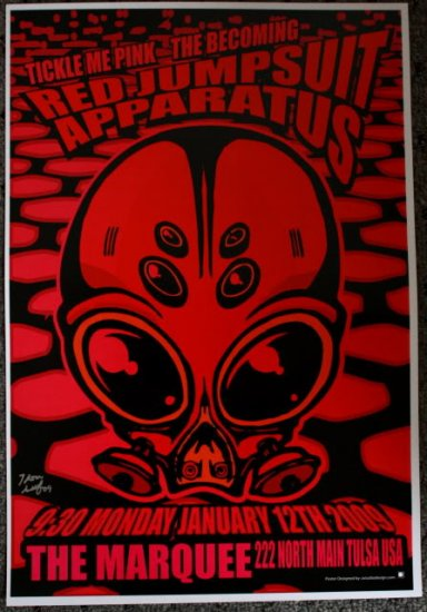 """Red Jumpsuit Apparatus with Tickle Me Pink & The Becoming Thom Self 13"""" x 19"""" Concert Poster"""