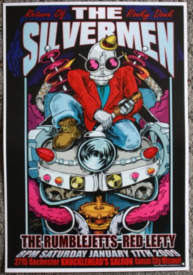"The Silvermen with Rumblejetts & Red Lefty promotional Thom Self 13"" x 19"" Concert Poster"