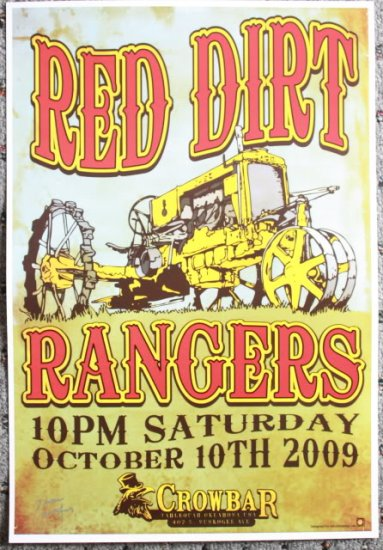 """Red Dirt Rangers promotional Thom Self 13"""" x 19"""" Concert Poster"""
