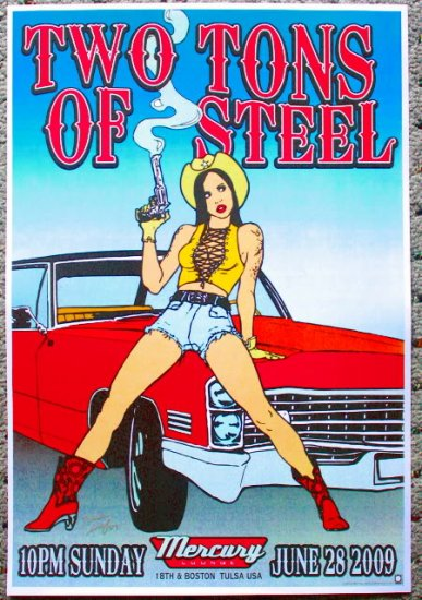 """Two Tons of Steel promotional Thom Self 13"""" x 19"""" Concert Poster"""