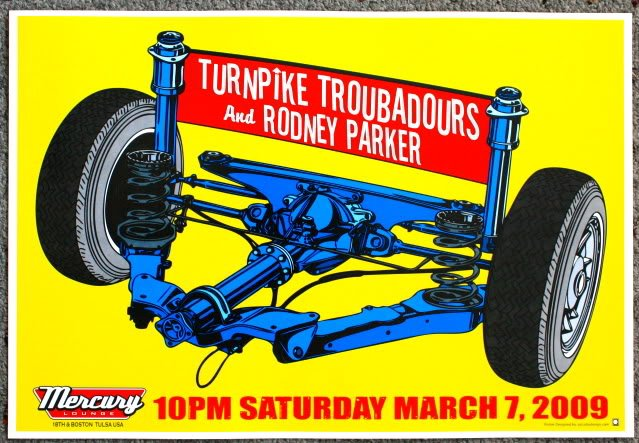 """Turnpike Troubadours with Rodney Parker promotional Thom Self 13"""" x 19"""" Concert Poster"""