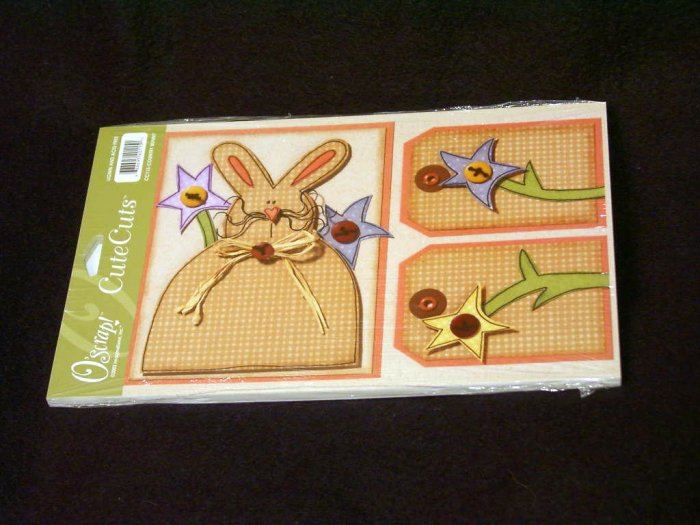 "Large ""Country Bunny"" Cute Cut Out's - Embellishments Arts Crafts Scrapbook Paper Tags Cards Supply"