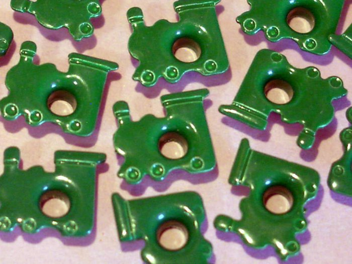 Green TRAIN Eyelets - Embellishments Scrapbooking Paper Arts Crafts Holiday Cards Tags Supplies