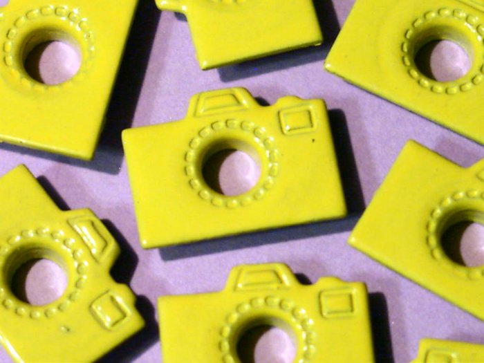 Yellow CAMERA Eyelets - Embellishments Scrapbooking Paper Arts Crafts Holiday Cards Tags Supplies