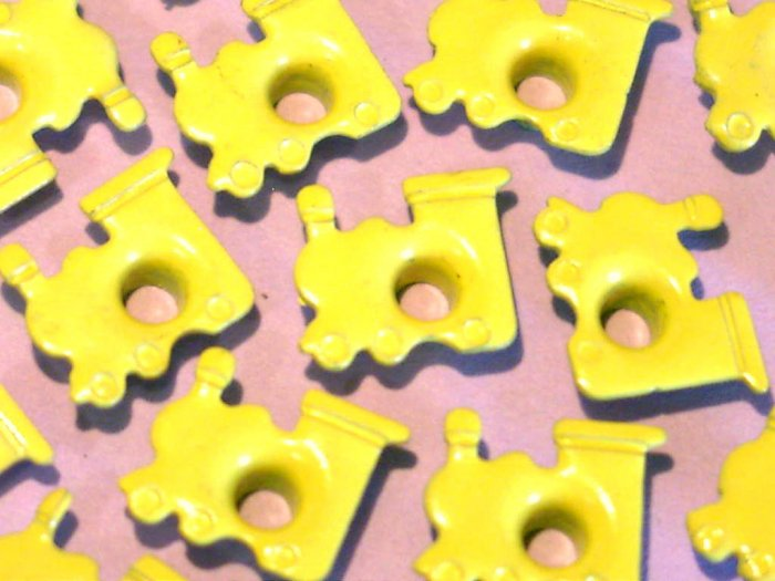 Yellow TRAIN Eyelets - Embellishments Scrapbooking Paper Arts Crafts Holiday Cards Tags Supplies