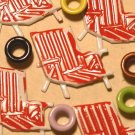 Brads Red Beach Chair Pool Eyelets Card Embellishments