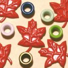 Brads Red Maple Leaf Leaves Eyelets Card Embellishments