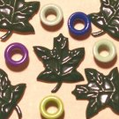Brads Dk Green Maple Leaf Leaves Eyelets Embellishments