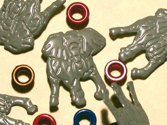 Brads Elephant Wild Zoo Animal Eyelets Embellishments