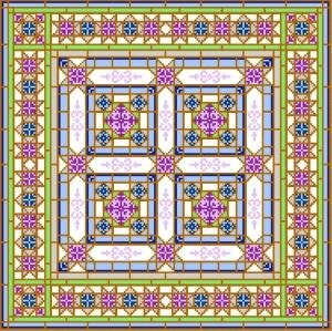 "6908 Geometric Needlepoint Canvas 14"" x 14"""