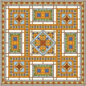 "6910 Geometric Needlepoint Canvas 14"" x 14"""