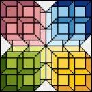 6251 Geometric Cube Needlepoint Canvas