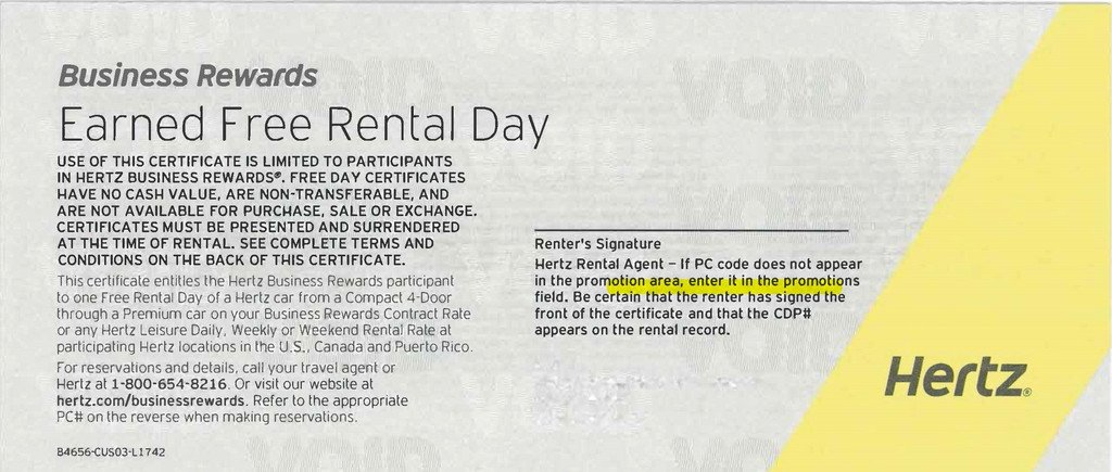 3 Hertz Free Rental Day Certificates