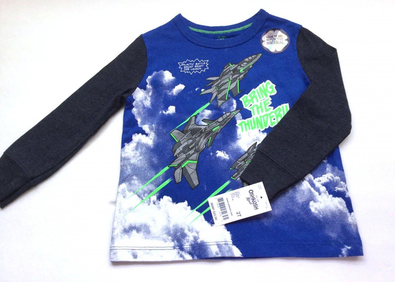 Oshkosh Boys Long Sleeve Graphic T Shirt Size 2 T Blue Black Jet Plane Print