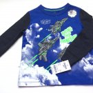 Oshkosh Boys Long Sleeve Graphic T Shirt Size 2 T Blue Black Jet Plane Print