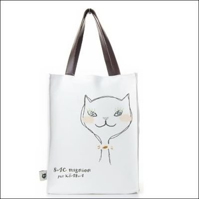 TINY DEMON Cute lady cat canvas tote handbag shoulder purse bag BEIGE / WHITE