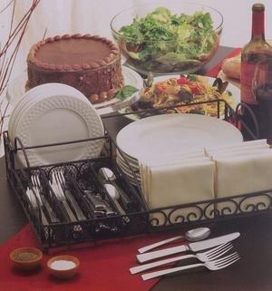 NEW 57-pc Black Scroll Iron Buffet Set