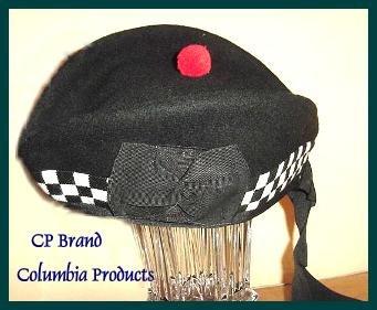 CP Brand Irish - Scottish Glengarry Hat Blk/Wht Dice - Free Shipping