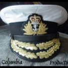 ROYAL NAVY OFFICERS HAT CAP ADMIRAL WHITE NEW ANY SIZE by COLUMBIA PRODUCTS