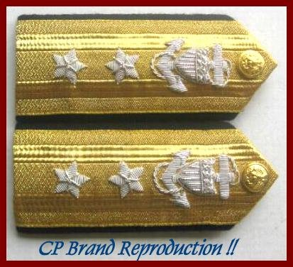 CP Brand NEW US COAST GUARD Shoulder Boards REAR ADMIRAL 2 Stars Rank, By COLUMBIA PRODUCTS