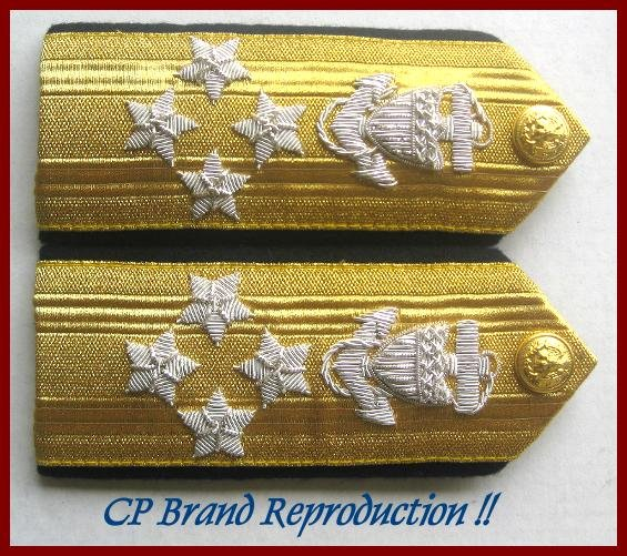 CP Brand NEW US COAST GUARD Shoulder Boards ADMIRAL 4 Stars Rank, By COLUMBIA PRODUCTS