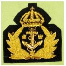 SWEDEN NAVY OFFICER HAT CAP BADGE NEW HAND EMBROIDERED FREE SHIP IN USA CP MADE