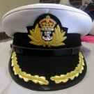 ROYAL NAVY OFFICERS HAT CAP CAPTAIN RANK WHITE NEW KING CROWN BADGE MOST SIZES