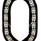 MASONIC REGALIA PAST MASTER NEW GOLD METAL CHAIN COLLAR DARK BLUE VELVET CP MADE