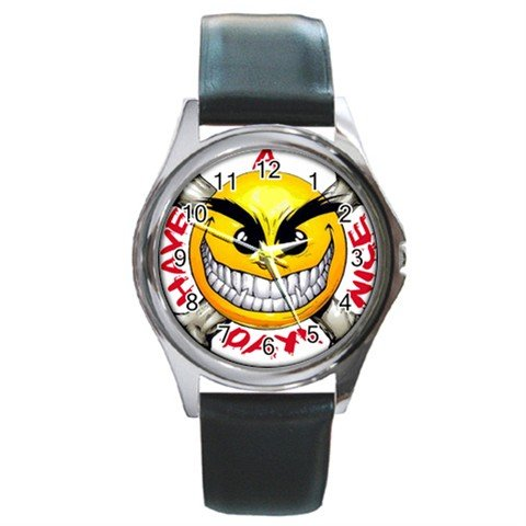 Have a Nice Day Round Metal Watch