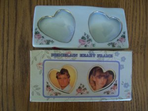 Porcelain Double Heart Picture Frame New