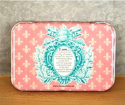 Sweet Pink Retro Style Fleur De Lis Floral Words Metal Box Business Name Cards Trinkets