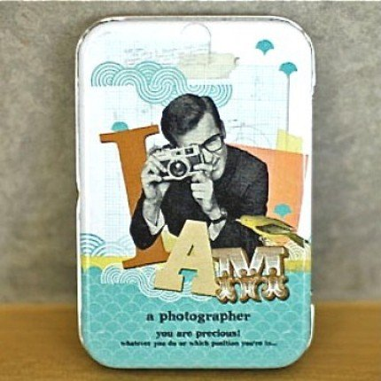 Retro Style I AM A Photographer Camera Message Metal Box Business Name Cards Trinkets