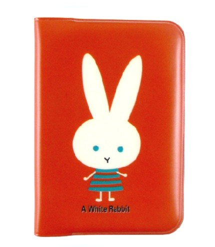 Cute A White Rabbit Red Name Credit Card Case Holder