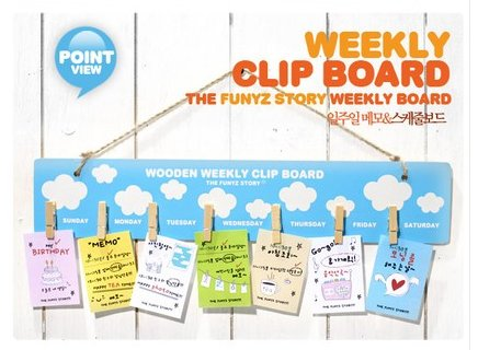 BIG Fun Blue Sky White Clouds Design Weekly Messages Peg Note Memo Clipboard Holder