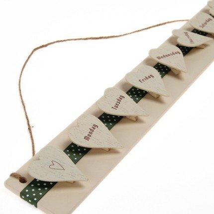 BIG Zakka Style Wooden Long Board With Heart Shaped Week Days Peg Note Memo Clipboard Holder