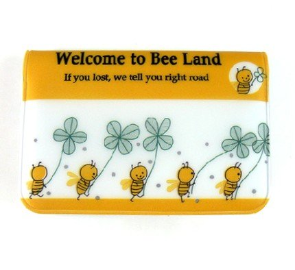 Cute And Sweet Bumble Bee And Flowers Cartoon Name Credit Card Case Holder